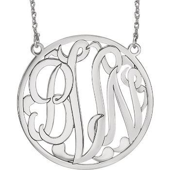 Picture of Large 40 mm 3-Letter Script Monogram Necklace