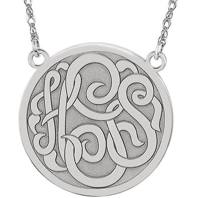 Picture of Medium 25 mm 3-Letter Script Monogram Necklace