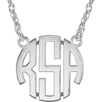 Picture of Small 15 mm 3-Letter Block Monogram Necklace