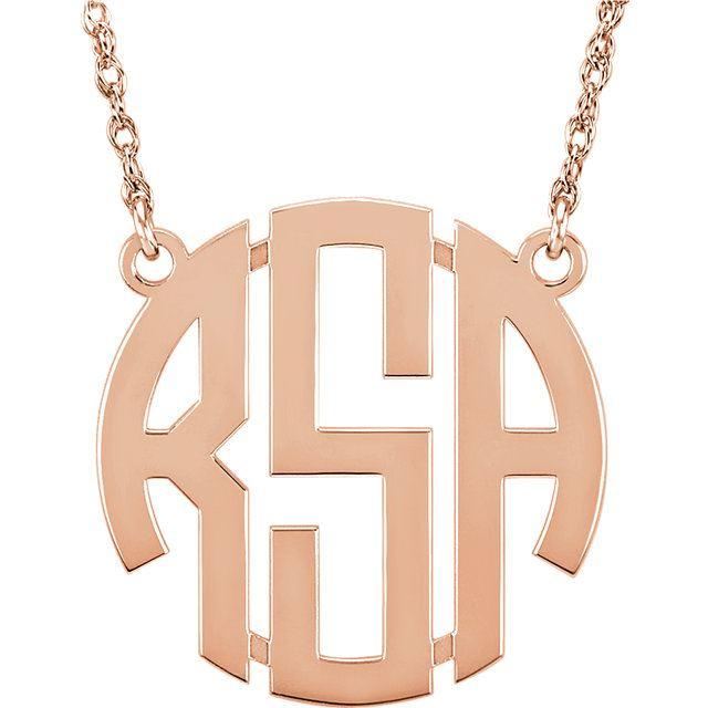Picture of Medium 25 mm 3-Letter Block Monogram Necklace