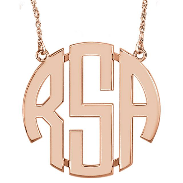 Picture of Large 40 mm 3-Letter Block Monogram Necklace