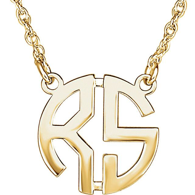 Picture of Small 15 mm 2-Letter Block Monogram Necklace