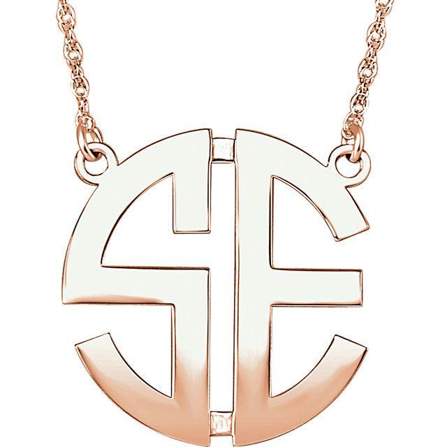 Picture of Medium 25 mm 2-Letter Block Monogram Necklace