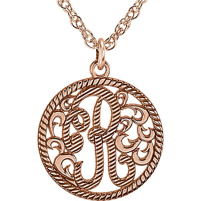 Picture of Small 15 mm 1-Letter Script Rope Border Monogram Necklace