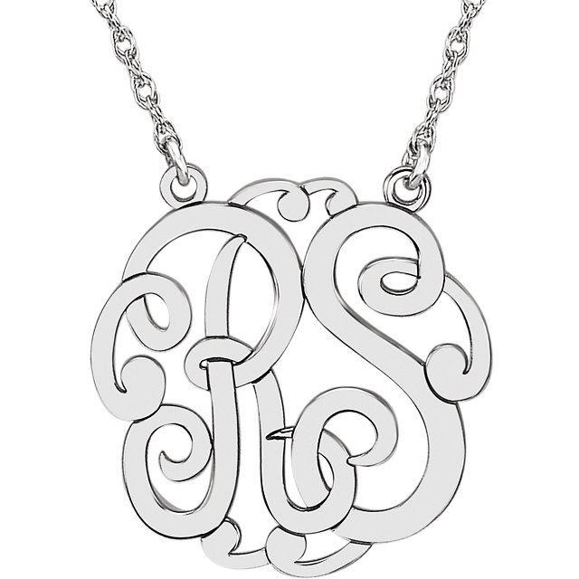 Picture of 25 mm 2-Letter Script Monogram Necklace