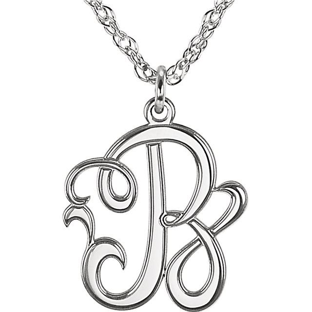 Picture of Small 15 mm 1-Letter Script Monogram Necklace