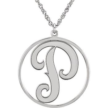 Picture of 20 mm 1-Letter Script with Border Monogram Necklace