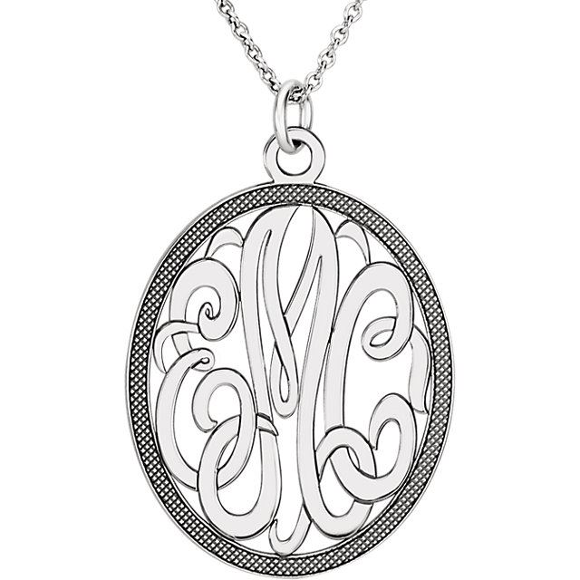 Picture of Oval 28 x 24 mm 3-Letter Script Monogram Necklace