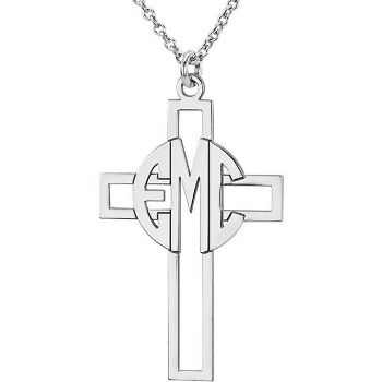 Picture of Cross 29 x 19 mm 3-Letter Block Monogram Necklace