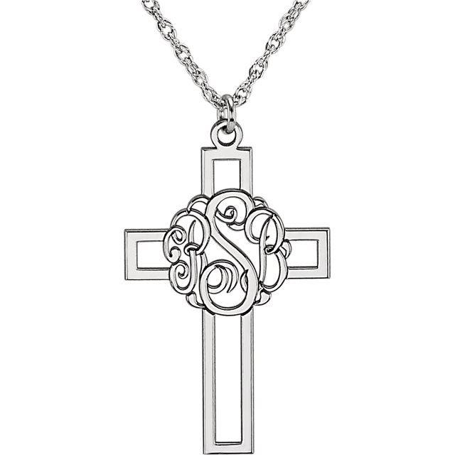 Picture of Cross 29 x 19 mm 3-Letter Script Monogram Necklace