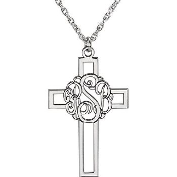 Picture of Cross 29 x 19 mm 3-Letter Script Monogram Necklace