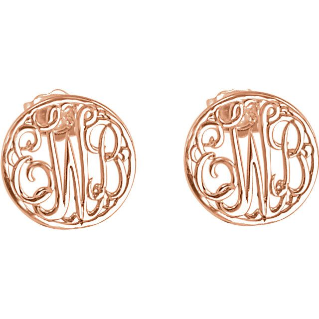 Picture of 10 mm 3-Letter Script Monogram Earrings
