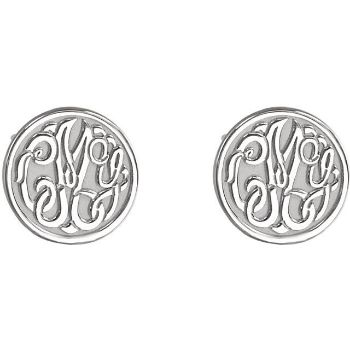 Picture of 10 mm 3-Letter Script Monogram Earrings