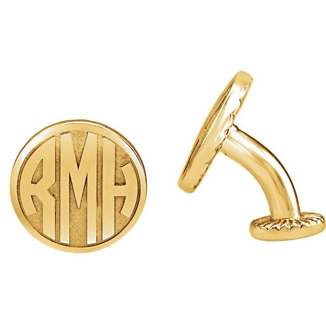Picture of 16.5 mm 3-Letter Block Monogram Cuff Links