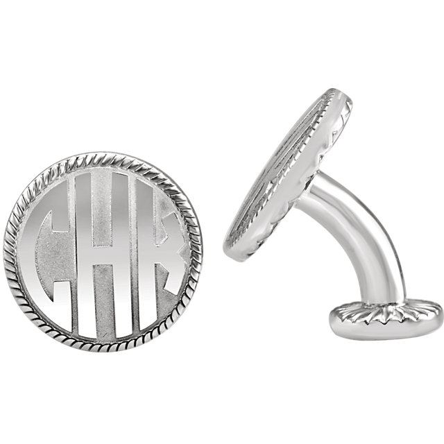 Picture of 16.5 mm 3-Letter Block Monogram Rope Border Cuff Links