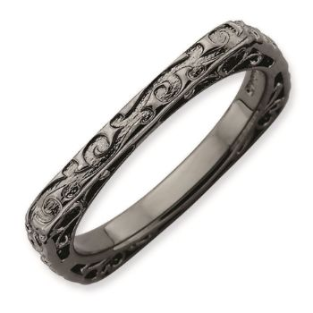 Picture of Silver Ruthenium Plated 2.25 mm Square Ring