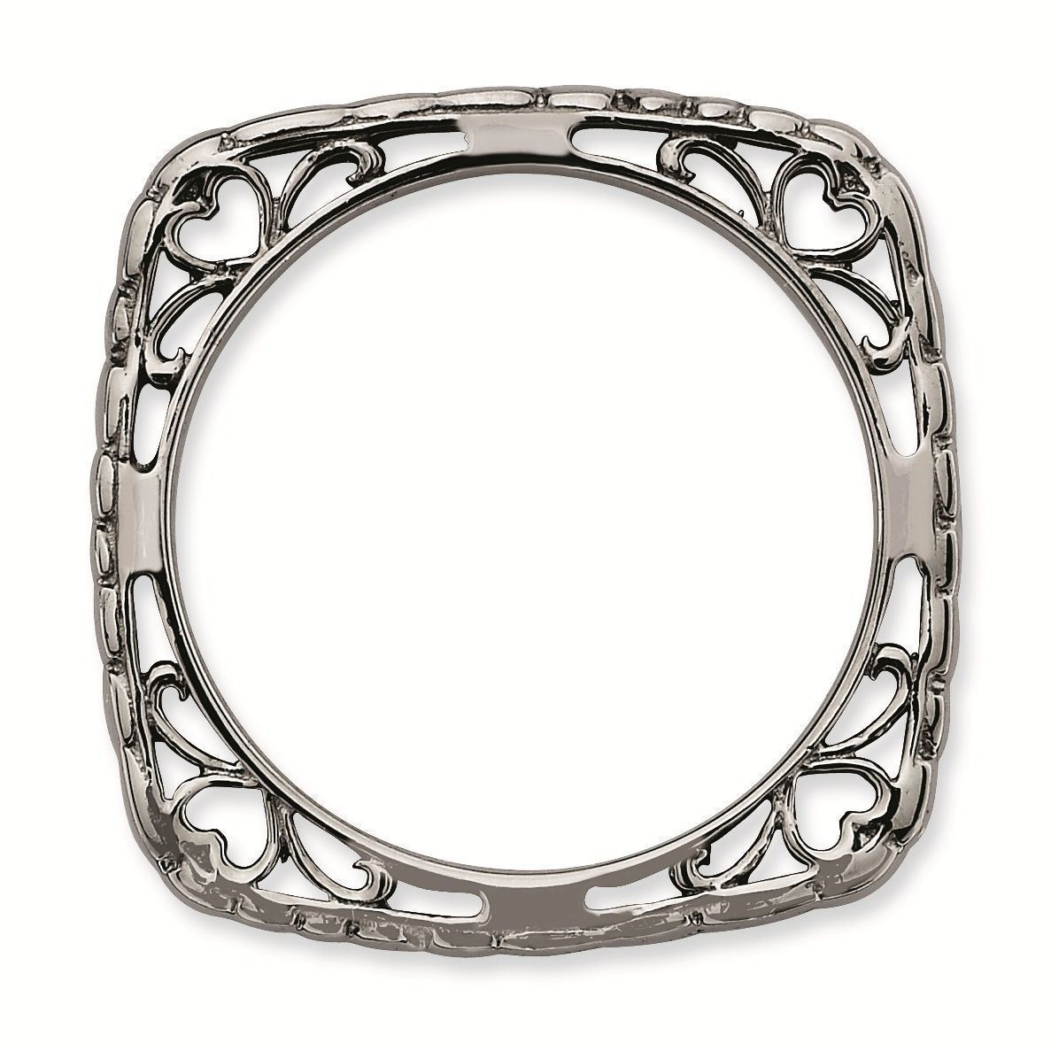 Picture of Silver Antiqued 2.25 mm Square Ring