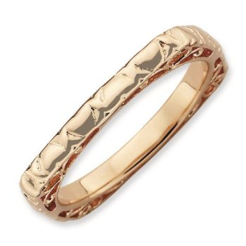 Picture of Silver Rose Gold Plated 2.25 mm Square Ring