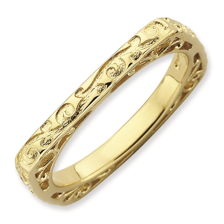 Picture of Silver Yellow Gold Plated 2.25 mm Square Ring