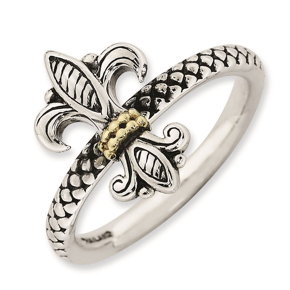 Picture of Sterling Silver & 14k Fleur De Lis Antiqued Ring