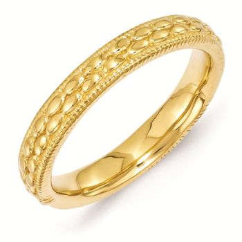 Picture of Sterling Silver Stackable Gold-Plated Patterned Ring