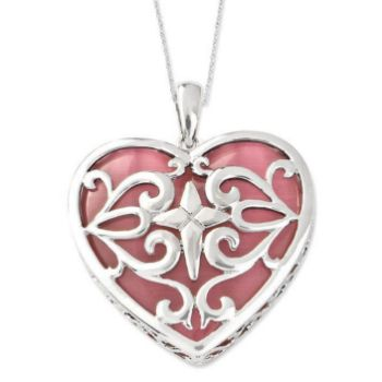 Picture of Cat's Eye Heart Acceptance Silver Pendant