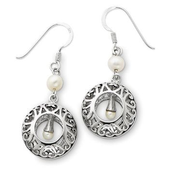 Picture of Pearls of Wisdom Silver Dangle Earrings