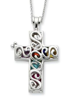 Picture of Promises of The Rainbow, Silver Cross Locket Penda