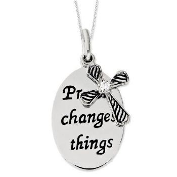 Picture of Prayer Changes Things Sllver Pendant