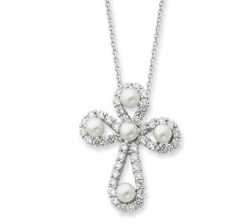 Picture of Pearls of Purity, Silver Cross Pendant