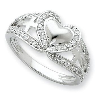 Picture of Pure Heart Silver CZ Ring