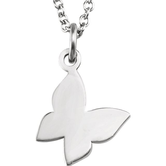 """Picture of 14K Gold Butterfly 18"""" Necklace"""