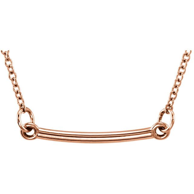 """Picture of 14K Gold Petite Bar 18"""" Necklace"""