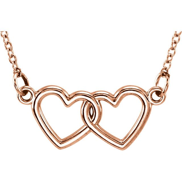 """Picture of 14K Gold Petite Double Heart 18"""" Necklace"""
