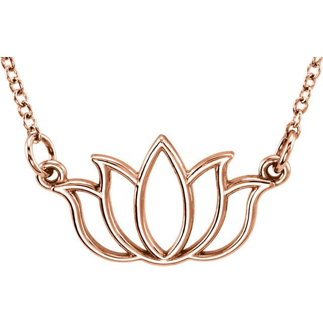 "Picture of 14K Gold Petite Lotus 18"" Necklace"