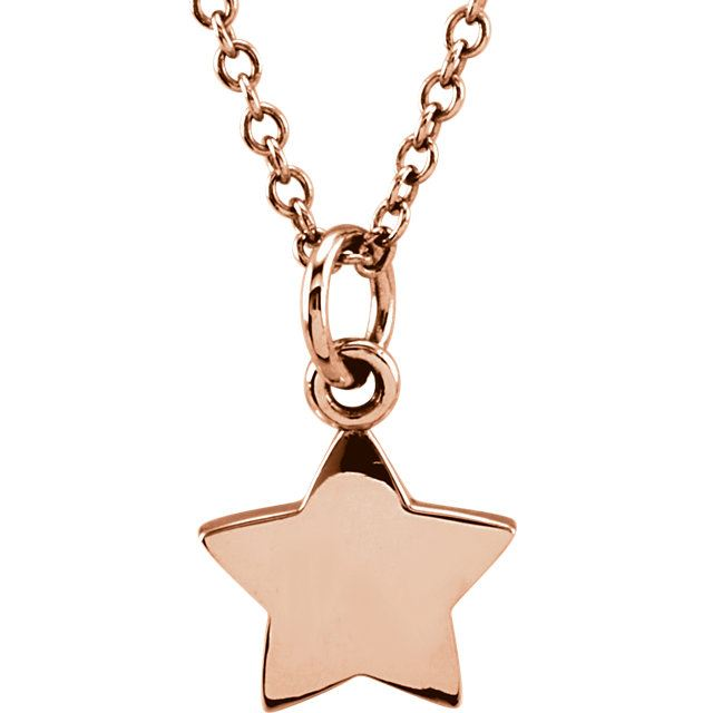 """Picture of 14K Gold Petite Star 18"""" Necklace"""