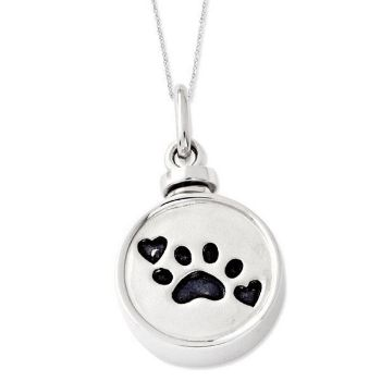 Picture of Silver Enameled Paw Print Ash Holder