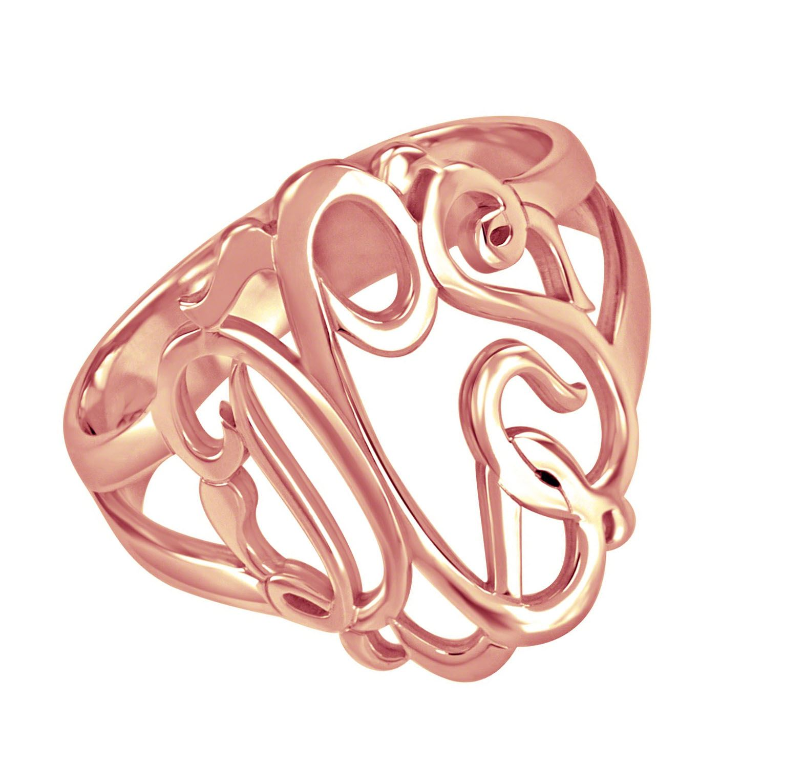 Picture of 3-Letter Script Monogram Ring