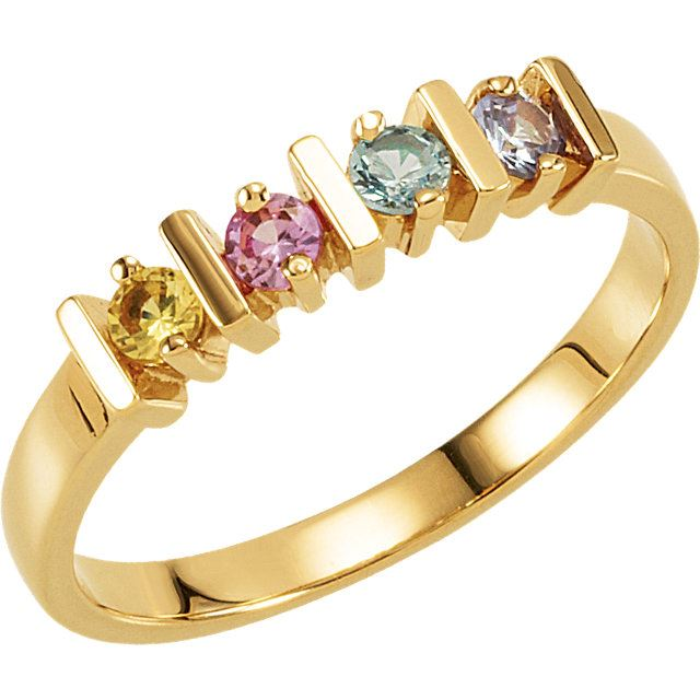 Picture of Gold 2 to 6 Round Stones Mother's Ring