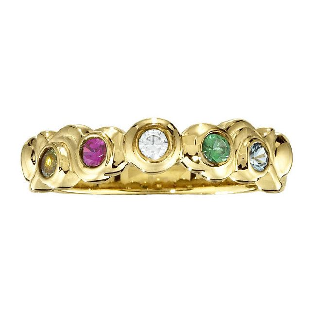 Picture of Gold 1 to 7 Round Stone Mother's Ring