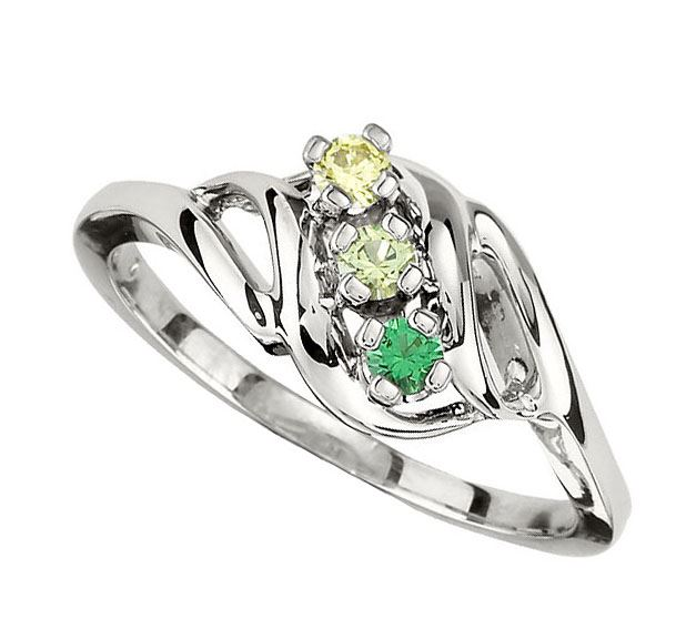 Picture of Gold 1 to 5 Round Stone Mother's Ring