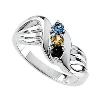 Picture of Gold 1 to 3 Round Stones Mother's Ring