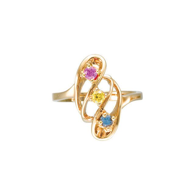 Picture of Gold 1 to 7 Round Stones Mother's Ring
