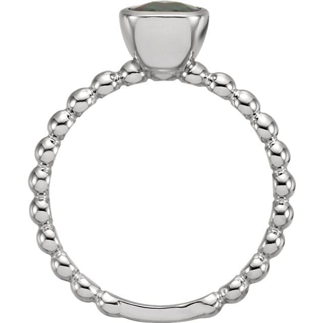 Picture of Silver 1 Antique Square Stone Stackable Ring