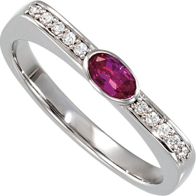 Picture of Silver 1 Oval Stone Stackable Mother's Ring