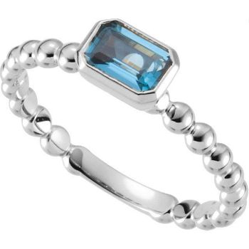 Picture of Silver 1 Emerald-Cut Stone Stackable Ring