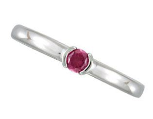 Picture of Silver 1 Round Stone Stackable Mother's Ring