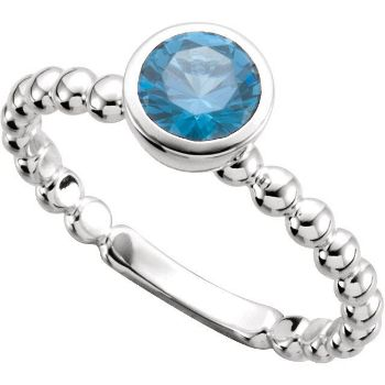 Picture of Silver 1 Round Stone Stackable Ring