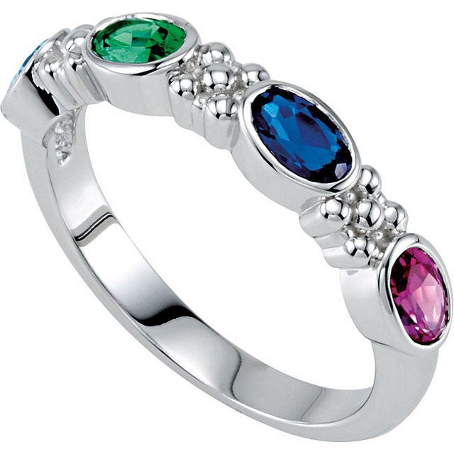 Picture of Silver 1 to 4 Oval Stones Mother's Ring