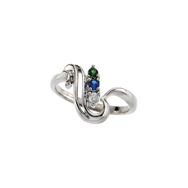 Picture of Silver 1 to 4 Stones Mother's Ring